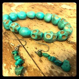 Turquoise Beaded Bracelet & Earings